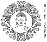 hand drawn buddha head with... | Shutterstock .eps vector #495874813