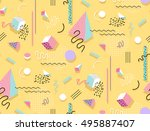 memphis pattern of geometric... | Shutterstock .eps vector #495887407