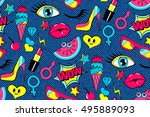 seamless pattern of fashion... | Shutterstock .eps vector #495889093