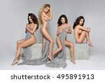 four beautiful women on... | Shutterstock . vector #495891913