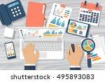 businessman working at desk.... | Shutterstock .eps vector #495893083