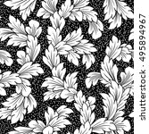 seamless baroque leaves black... | Shutterstock .eps vector #495894967