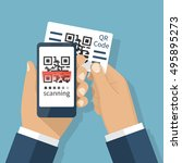 scanning qr code on mobile... | Shutterstock .eps vector #495895273