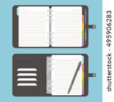 opened leather notebook with... | Shutterstock .eps vector #495906283