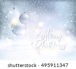 silver and blue white baubles... | Shutterstock .eps vector #495911347