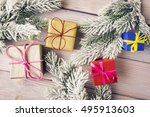 gift boxes and xmas tree... | Shutterstock . vector #495913603