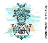 vector drawing of a hamsa hand... | Shutterstock .eps vector #495915007