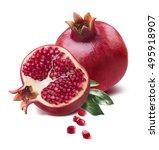 pomegranate half cut seeds... | Shutterstock . vector #495918907