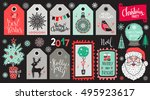 christmas holiday icons  tags ... | Shutterstock .eps vector #495923617