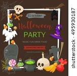 halloween party banner. vector...   Shutterstock .eps vector #495930187
