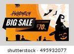 halloween sale vector banner... | Shutterstock .eps vector #495932077