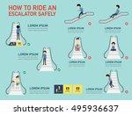 how to ride an escalator safely ... | Shutterstock .eps vector #495936637
