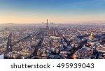 panorama of paris at sunset | Shutterstock . vector #495939043