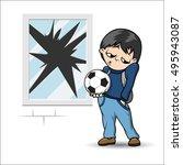 boy with soccer ball | Shutterstock .eps vector #495943087