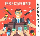 press conference. speaker... | Shutterstock .eps vector #495955897