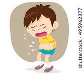 boy having stomach ache ... | Shutterstock .eps vector #495962377