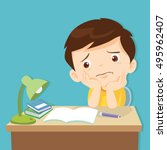 kid boring about something.... | Shutterstock .eps vector #495962407