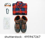 hiking equipment flat lay with...   Shutterstock . vector #495967267