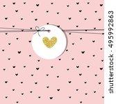 heart. greeting card. hand... | Shutterstock .eps vector #495992863