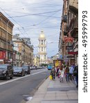 Small photo of ST. PETERSBURG, RUSSIA, on August 20, 2016. Urban view. the brisk street with pedestrians and cars