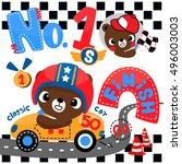 cute bear cartoon driving a...