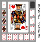 Playing Cards Of Hearts Suit...