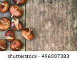 Roasted Sweet Chestnuts On Gre...
