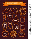set of halloween vector... | Shutterstock .eps vector #496012597