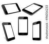 vector black mobile phone... | Shutterstock .eps vector #496016233