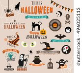 set of happy halloween symbols... | Shutterstock .eps vector #496025113