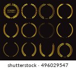 golden laurel wreaths.laurel... | Shutterstock .eps vector #496029547
