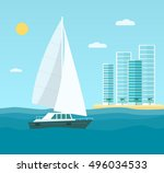 yacht  skyscrapers  seascape.... | Shutterstock .eps vector #496034533