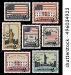 set of postage stamps with the... | Shutterstock .eps vector #496034923