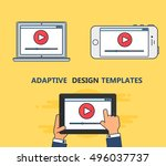 adaptive web template and...   Shutterstock .eps vector #496037737