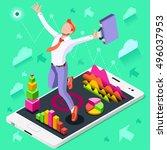 businessman win job concept... | Shutterstock .eps vector #496037953