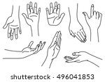 outline images of hands.... | Shutterstock .eps vector #496041853