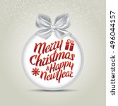 christmas holiday card with... | Shutterstock .eps vector #496044157