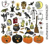 halloween party icons.doodle... | Shutterstock .eps vector #496046287