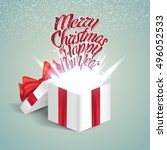open gift box with abstract... | Shutterstock .eps vector #496052533