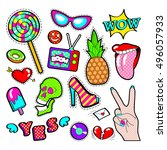 fashion badges  patches ... | Shutterstock .eps vector #496057933