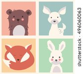 collection of cute forest and... | Shutterstock .eps vector #496060063