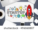 startup presentation with... | Shutterstock . vector #496060807