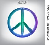 vector peace sign painted by... | Shutterstock .eps vector #496067323
