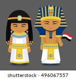 egyptians in national dress... | Shutterstock .eps vector #496067557
