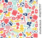 seamless pattern with kids... | Shutterstock .eps vector #496070797