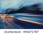 abstract blur city night... | Shutterstock . vector #496071787