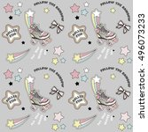 retro rollers seamless pattern | Shutterstock .eps vector #496073233