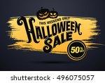 halloween sale. vector... | Shutterstock .eps vector #496075057