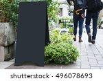 blank board stand mock up black ... | Shutterstock . vector #496078693