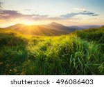 mountain valley during sunset.... | Shutterstock . vector #496086403